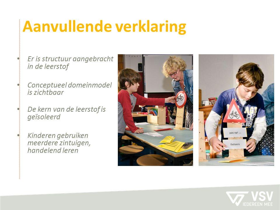 Aanvullende verklaring Er is structuur aangebracht in de leerstof Conceptueel domeinmodel is zichtbaar De kern van de leerstof is geïsoleerd Kinderen gebruiken meerdere zintuigen, handelend leren