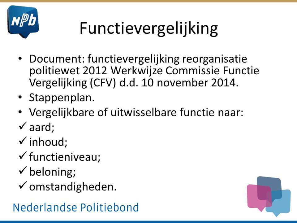 Functievergelijking Document: functievergelijking reorganisatie politiewet 2012 Werkwijze Commissie Functie Vergelijking (CFV) d.d. 10 november 2014.