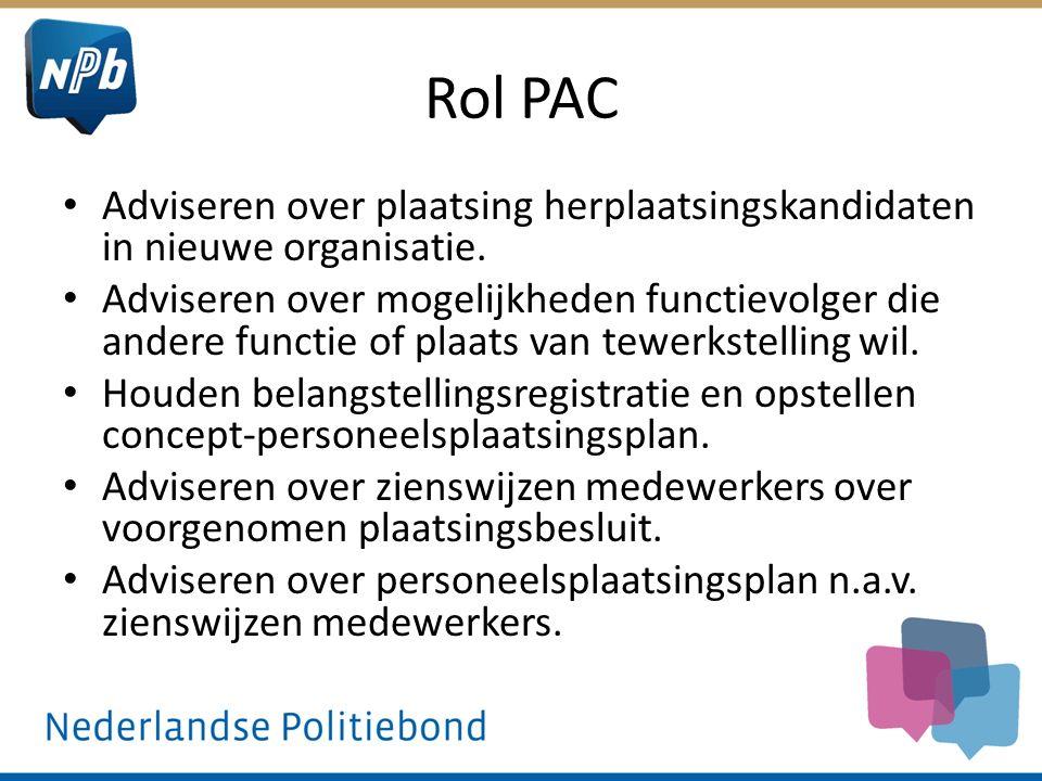Rol PAC Adviseren over plaatsing herplaatsingskandidaten in nieuwe organisatie. Adviseren over mogelijkheden functievolger die andere functie of plaat
