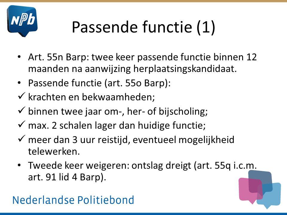 Passende functie (1) Art. 55n Barp: twee keer passende functie binnen 12 maanden na aanwijzing herplaatsingskandidaat. Passende functie (art. 55o Barp