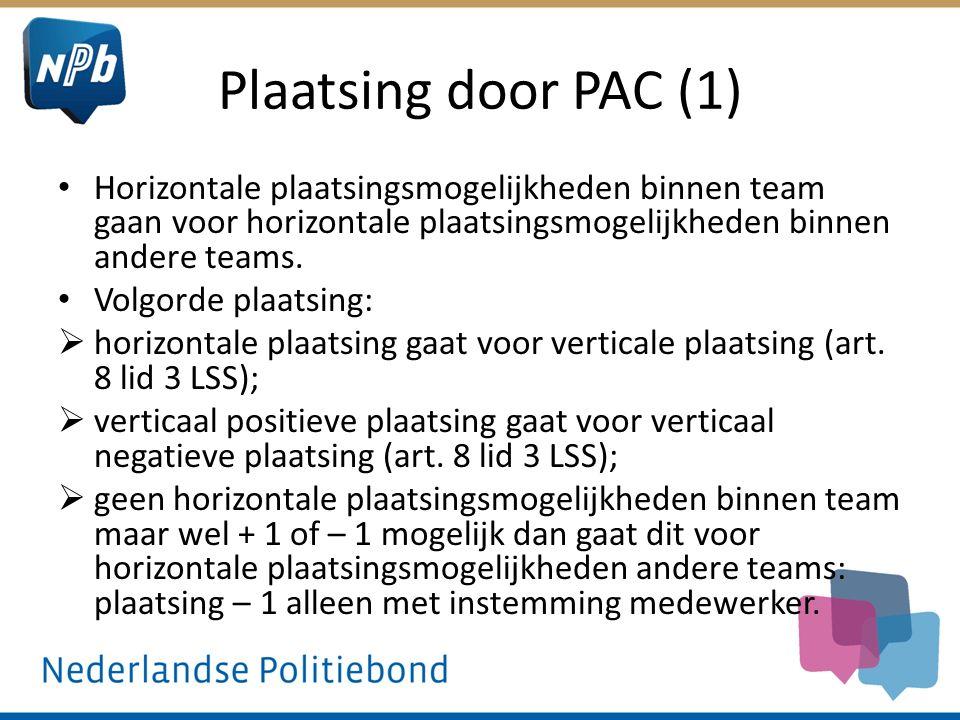 Plaatsing door PAC (1) Horizontale plaatsingsmogelijkheden binnen team gaan voor horizontale plaatsingsmogelijkheden binnen andere teams. Volgorde pla