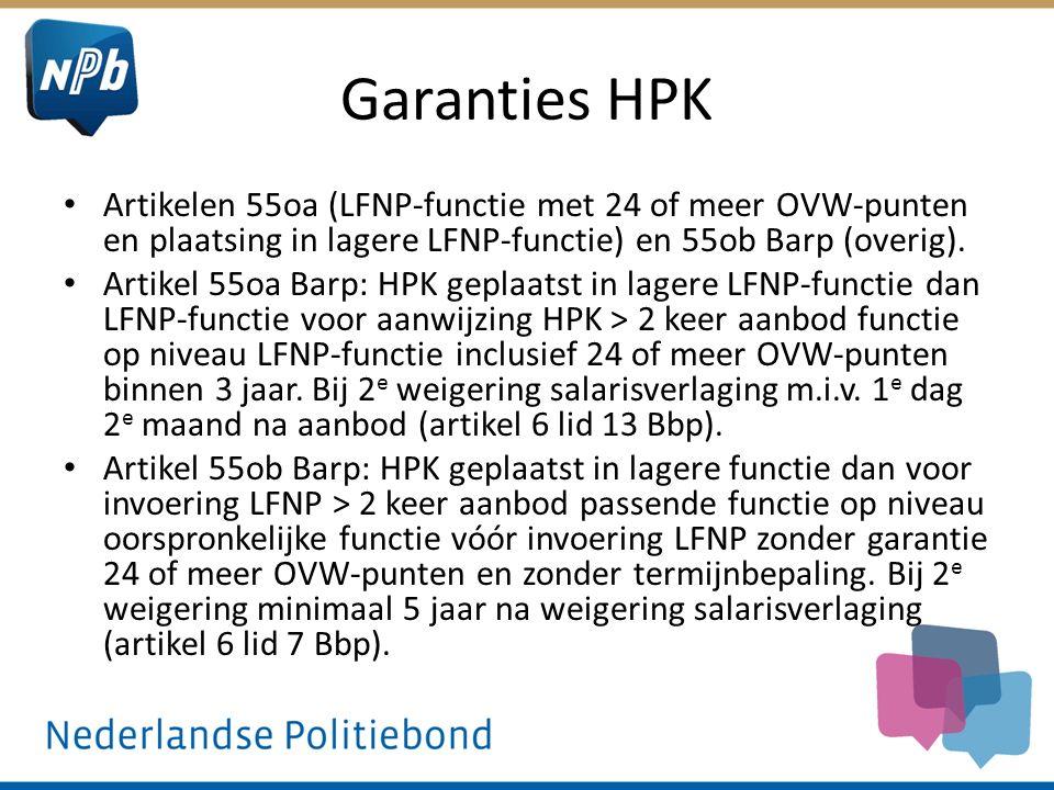 Garanties HPK Artikelen 55oa (LFNP-functie met 24 of meer OVW-punten en plaatsing in lagere LFNP-functie) en 55ob Barp (overig). Artikel 55oa Barp: HP