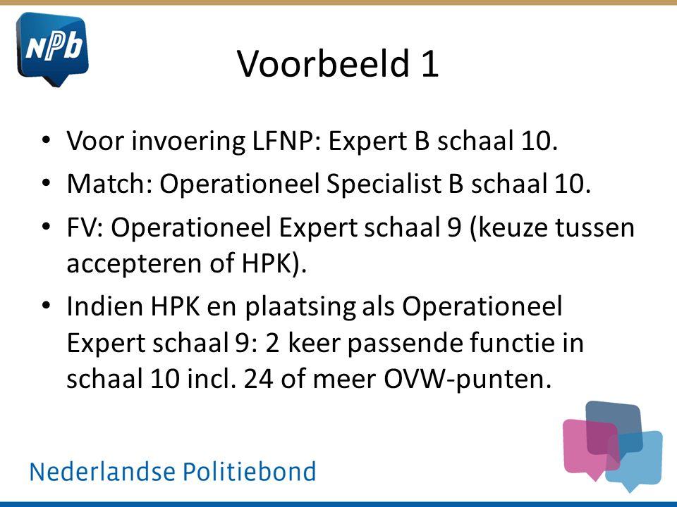 Voorbeeld 1 Voor invoering LFNP: Expert B schaal 10. Match: Operationeel Specialist B schaal 10. FV: Operationeel Expert schaal 9 (keuze tussen accept