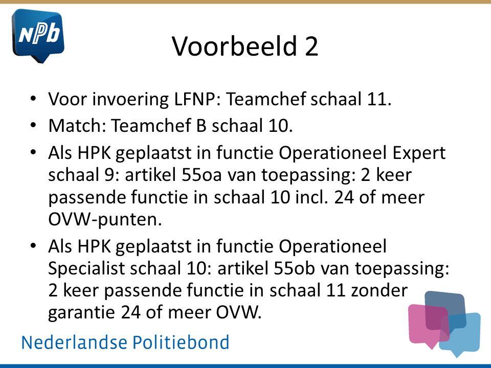 Voorbeeld 2 Voor invoering LFNP: Teamchef schaal 11. Match: Teamchef B schaal 10. Als HPK geplaatst in functie Operationeel Expert schaal 9: artikel 5