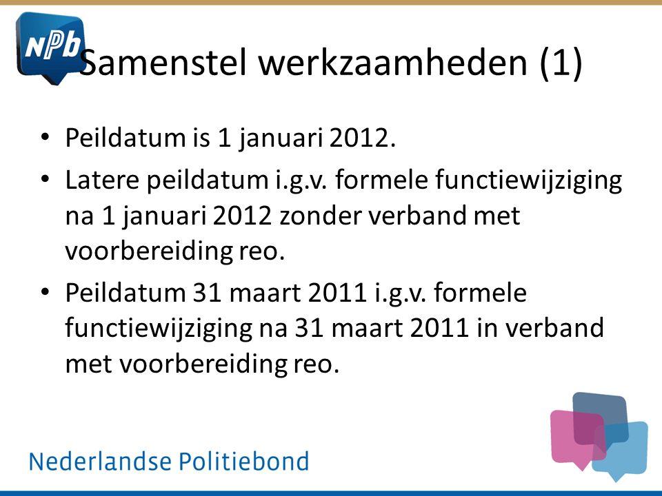 Samenstel werkzaamheden (1) Peildatum is 1 januari 2012. Latere peildatum i.g.v. formele functiewijziging na 1 januari 2012 zonder verband met voorber