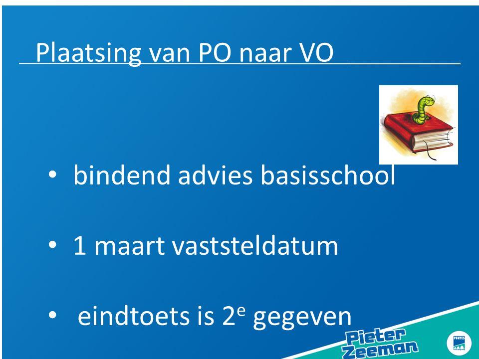 Plaatsing van PO naar VO bindend advies basisschool 1 maart vaststeldatum eindtoets is 2 e gegeven