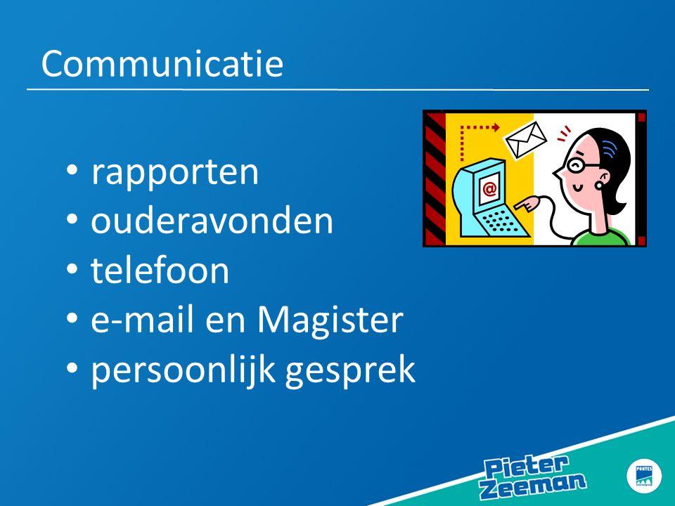 Communicatie rapporten ouderavonden telefoon e-mail en Magister persoonlijk gesprek