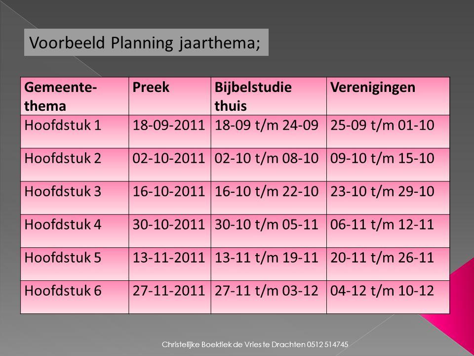 Voorbeeld Planning jaarthema; Gemeente- thema PreekBijbelstudie thuis Verenigingen Hoofdstuk 118-09-201118-09 t/m 24-0925-09 t/m 01-10 Hoofdstuk 202-10-201102-10 t/m 08-1009-10 t/m 15-10 Hoofdstuk 316-10-201116-10 t/m 22-1023-10 t/m 29-10 Hoofdstuk 430-10-201130-10 t/m 05-1106-11 t/m 12-11 Hoofdstuk 513-11-201113-11 t/m 19-1120-11 t/m 26-11 Hoofdstuk 627-11-201127-11 t/m 03-1204-12 t/m 10-12 Christelijke Boektiek de Vries te Drachten 0512 514745