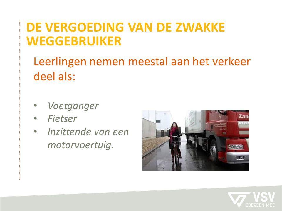 DE VERGOEDING VAN DE ZWAKKE WEGGEBRUIKER Leerlingen nemen meestal aan het verkeer deel als: Voetganger Fietser Inzittende van een motorvoertuig.