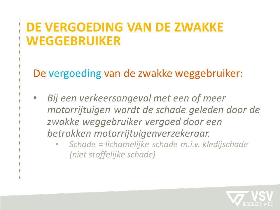 De vergoeding van de zwakke weggebruiker: Bij een verkeersongeval met een of meer motorrijtuigen wordt de schade geleden door de zwakke weggebruiker vergoed door een betrokken motorrijtuigenverzekeraar.