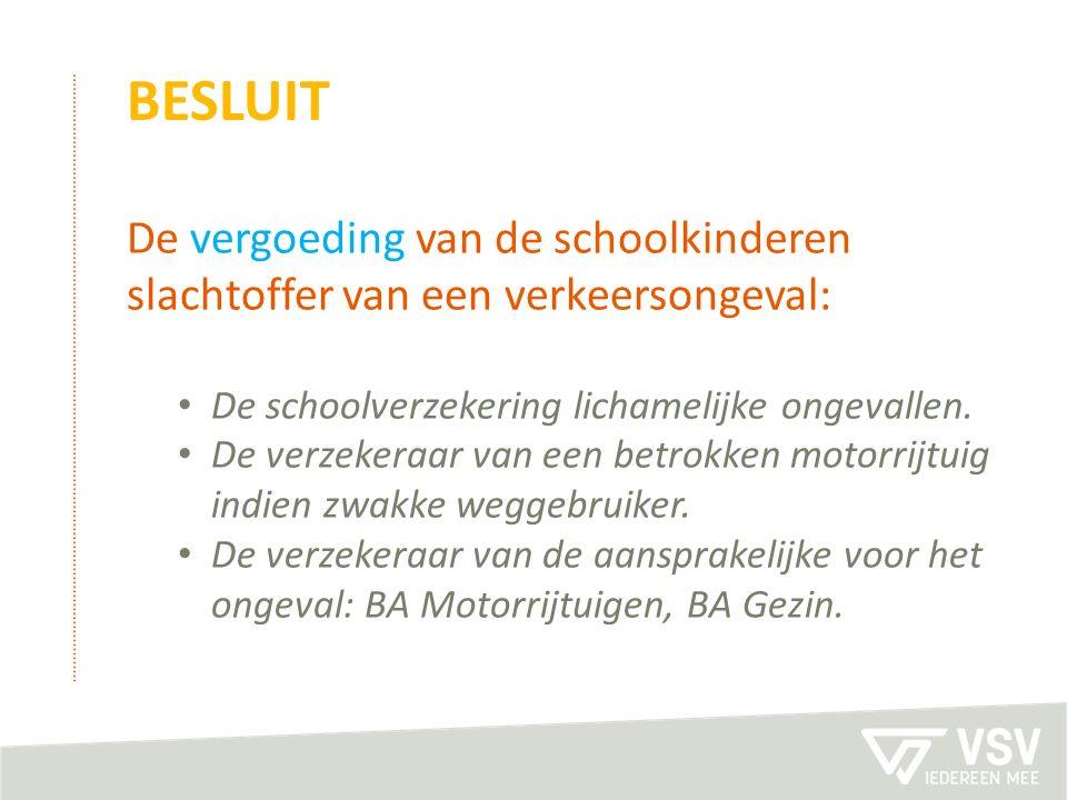 BESLUIT De vergoeding van de schoolkinderen slachtoffer van een verkeersongeval: De schoolverzekering lichamelijke ongevallen. De verzekeraar van een
