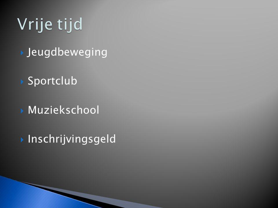  Jeugdbeweging  Sportclub  Muziekschool  Inschrijvingsgeld