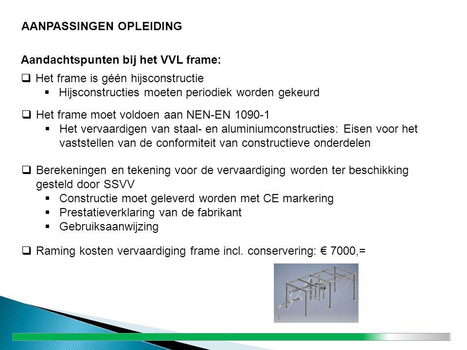 Aandachtspunten bij het VVL frame:  Het frame is géén hijsconstructie  Hijsconstructies moeten periodiek worden gekeurd  Berekeningen en tekening v
