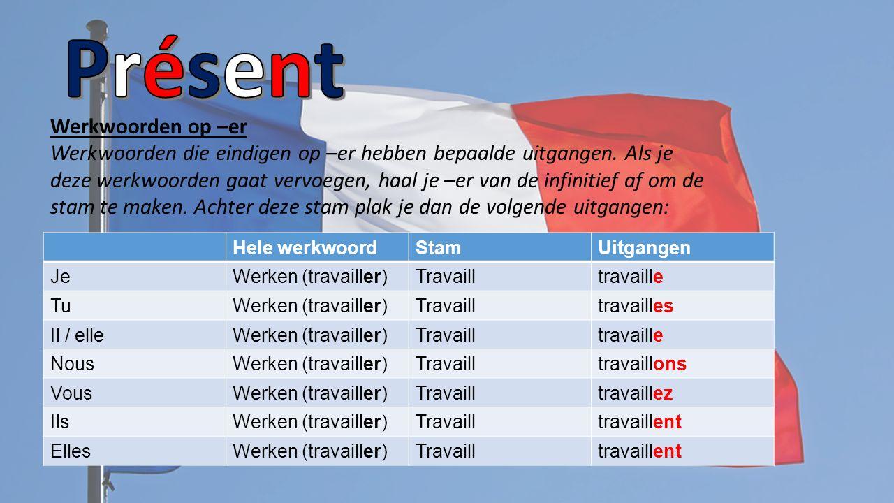 Verbes Relugiers (Regelmatige werkwoorden) In de présent (tegewoordige tijd) krijgen de werkwoorden allemaal een eigen vorm.