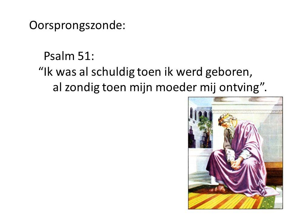 Oorsprongszonde: Psalm 51: Ik was al schuldig toen ik werd geboren, al zondig toen mijn moeder mij ontving .