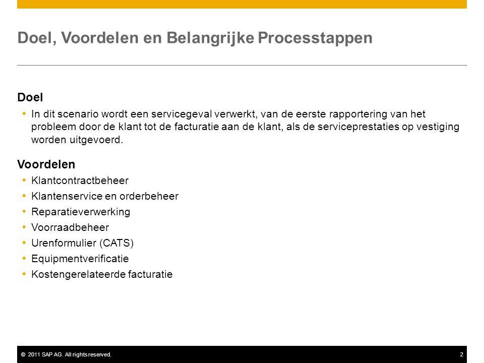 ©2011 SAP AG. All rights reserved.2 Doel, Voordelen en Belangrijke Processtappen Doel  In dit scenario wordt een servicegeval verwerkt, van de eerste