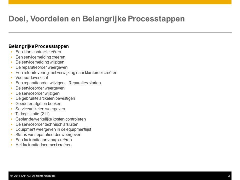 ©2011 SAP AG. All rights reserved.3 Doel, Voordelen en Belangrijke Processtappen Belangrijke Processtappen  Een klantcontract creëren  Een serviceme
