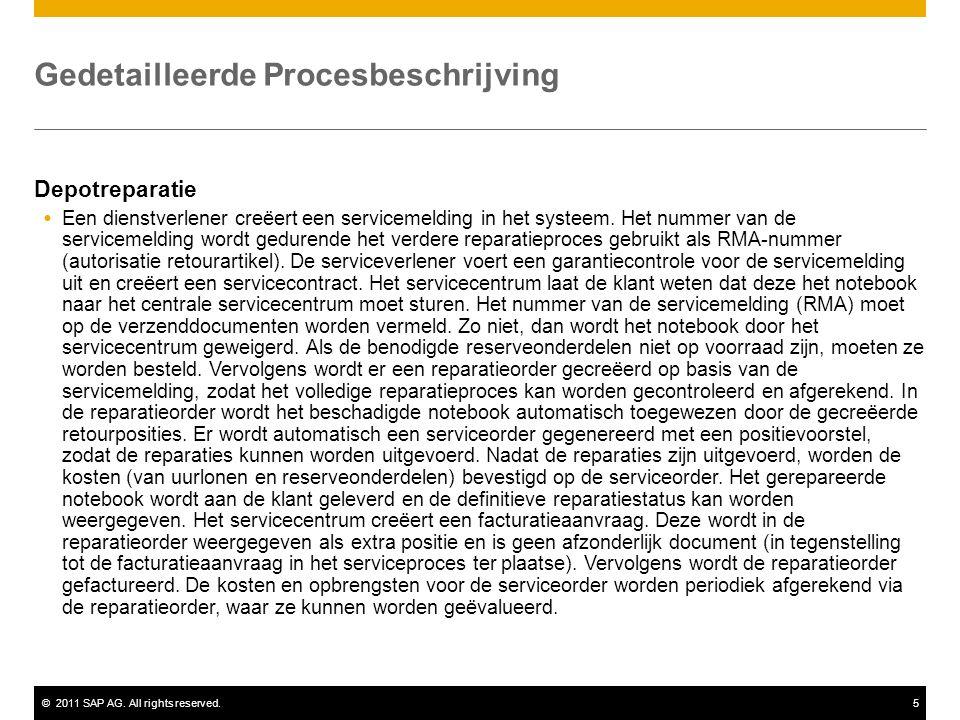 ©2011 SAP AG. All rights reserved.5 Gedetailleerde Procesbeschrijving Depotreparatie  Een dienstverlener creëert een servicemelding in het systeem. H