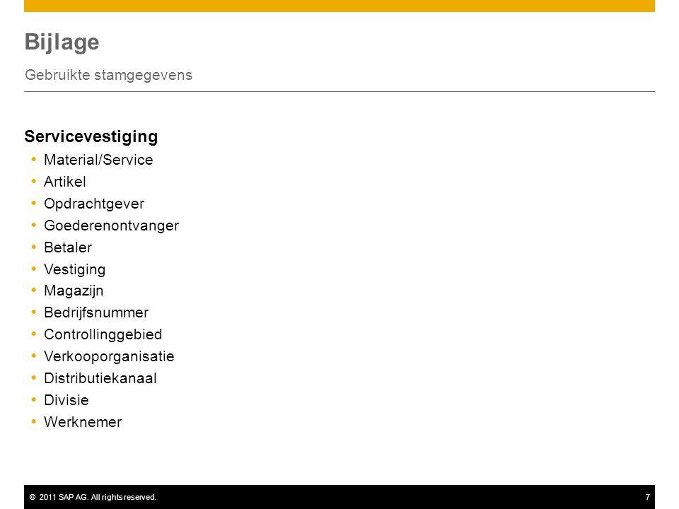 ©2011 SAP AG. All rights reserved.7 Bijlage Gebruikte stamgegevens Servicevestiging  Material/Service  Artikel  Opdrachtgever  Goederenontvanger 
