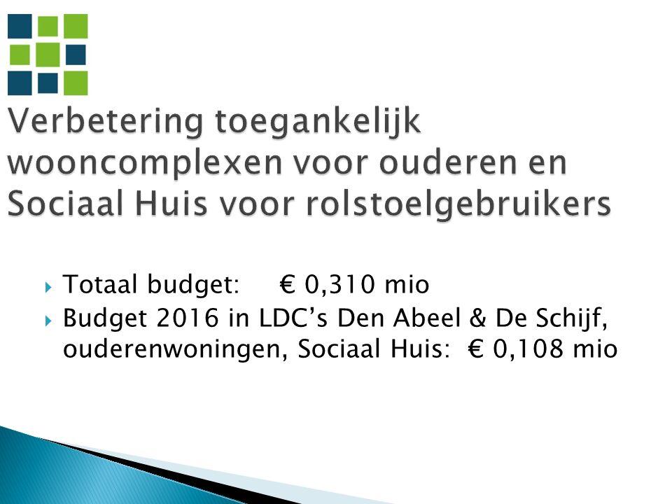  Totaal budget: € 0,310 mio  Budget 2016 in LDC's Den Abeel & De Schijf, ouderenwoningen, Sociaal Huis: € 0,108 mio