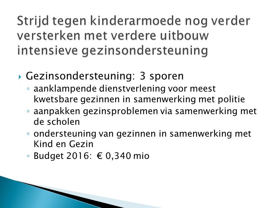  Gezinsondersteuning: 3 sporen ◦ aanklampende dienstverlening voor meest kwetsbare gezinnen in samenwerking met politie ◦ aanpakken gezinsproblemen via samenwerking met de scholen ◦ ondersteuning van gezinnen in samenwerking met Kind en Gezin ◦ Budget 2016: € 0,340 mio