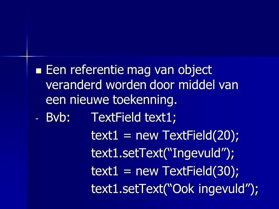 Een referentie mag van object veranderd worden door middel van een nieuwe toekenning.