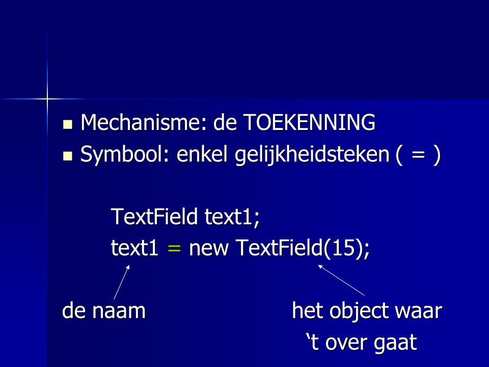 Mechanisme: de TOEKENNING Mechanisme: de TOEKENNING Symbool: enkel gelijkheidsteken ( = ) Symbool: enkel gelijkheidsteken ( = ) TextField text1; text1 = new TextField(15); Betekenis: text1 wordt de naam van dit object.