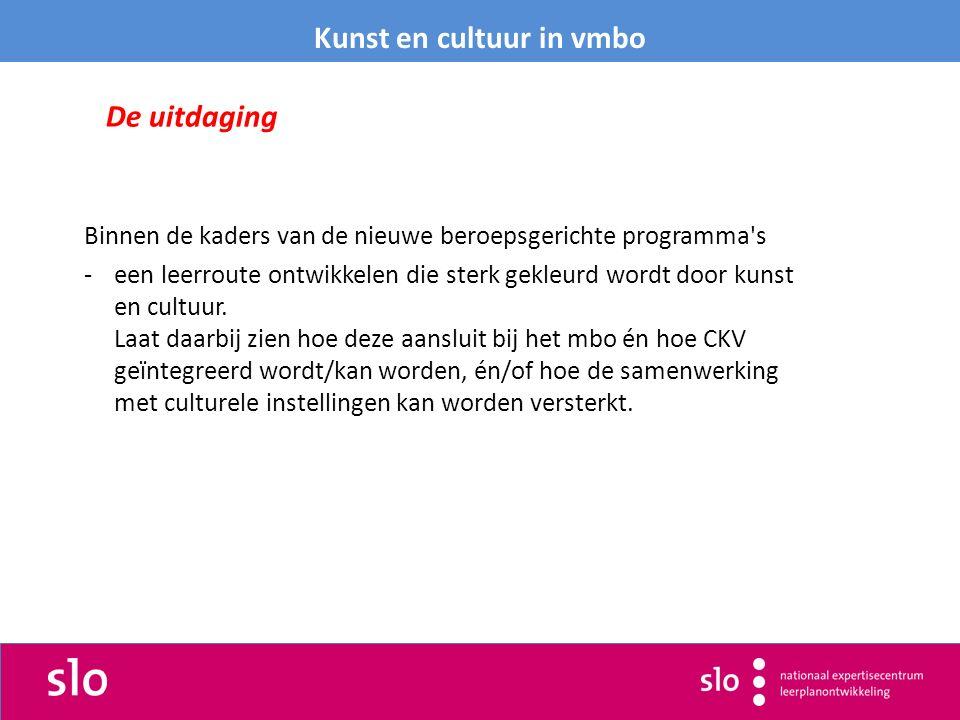 Binnen de kaders van de nieuwe beroepsgerichte programma s -een leerroute ontwikkelen die sterk gekleurd wordt door kunst en cultuur.