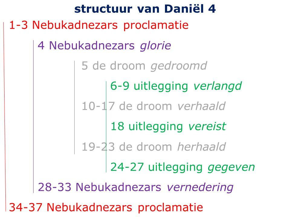 1-3 Nebukadnezars proclamatie 4 Nebukadnezars glorie 5 de droom gedroomd 6-9 uitlegging verlangd 10-17 de droom verhaald 18 uitlegging vereist 19-23 de droom herhaald 24-27 uitlegging gegeven 28-33 Nebukadnezars vernedering 34-37 Nebukadnezars proclamatie structuur van Daniël 4