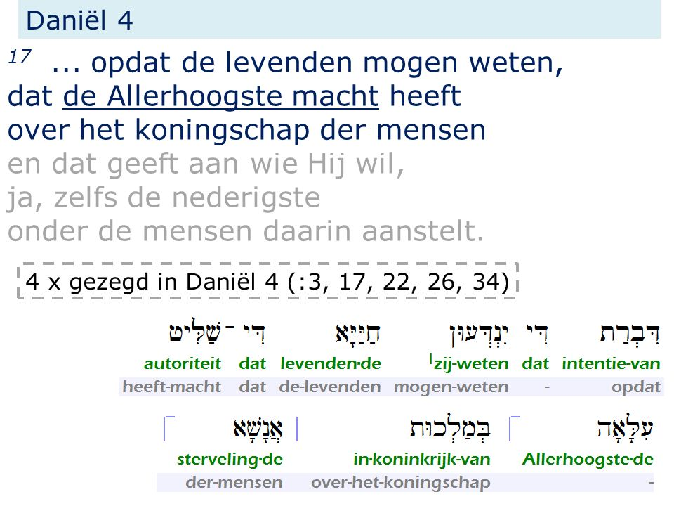 Daniël 4 17... opdat de levenden mogen weten, dat de Allerhoogste macht heeft over het koningschap der mensen en dat geeft aan wie Hij wil, ja, zelfs