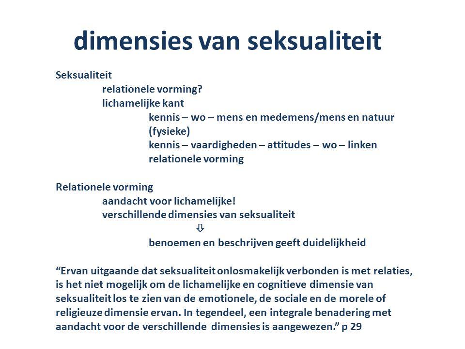 dimensies van seksualiteit Seksualiteit relationele vorming.
