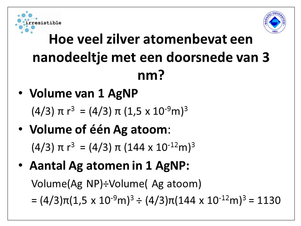 Hoe veel zilver atomenbevat een nanodeeltje met een doorsnede van 3 nm.