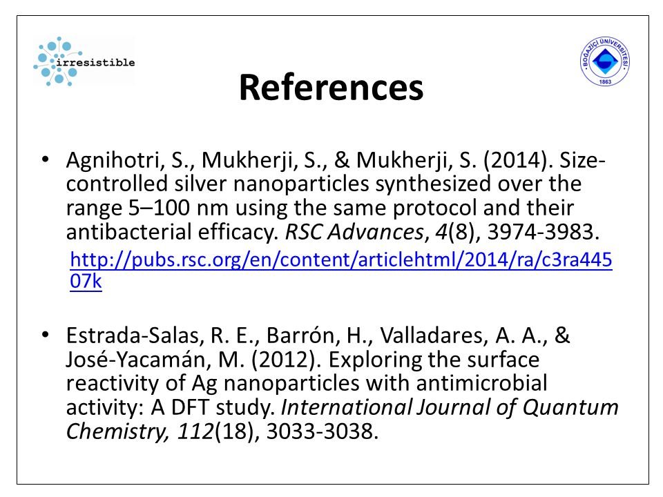 References Agnihotri, S., Mukherji, S., & Mukherji, S. (2014). Size- controlled silver nanoparticles synthesized over the range 5–100 nm using the sam
