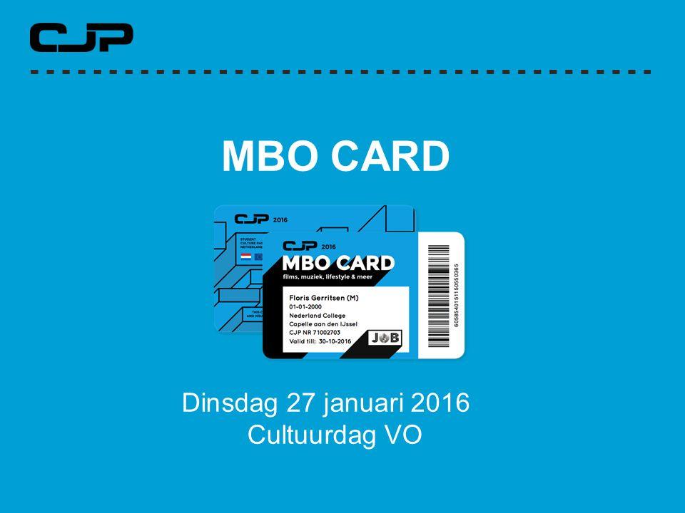MBO CARD Dinsdag 27 januari 2016 Cultuurdag VO