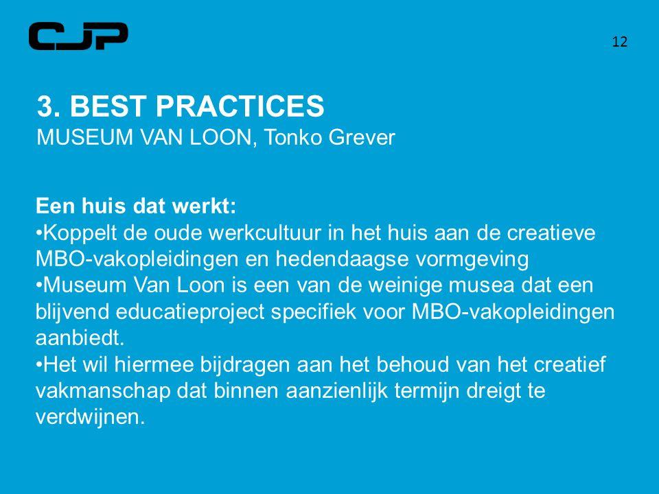 12 3. BEST PRACTICES MUSEUM VAN LOON, Tonko Grever Een huis dat werkt: Koppelt de oude werkcultuur in het huis aan de creatieve MBO-vakopleidingen en