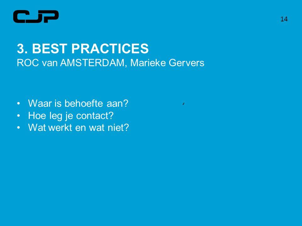 14 3. BEST PRACTICES ROC van AMSTERDAM, Marieke Gervers Waar is behoefte aan? Hoe leg je contact? Wat werkt en wat niet? '