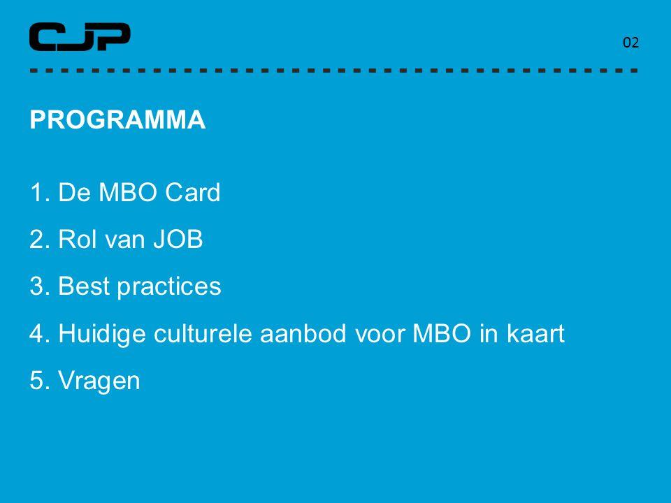 PROGRAMMA 1. De MBO Card 2. Rol van JOB 3. Best practices 4. Huidige culturele aanbod voor MBO in kaart 5. Vragen 0202