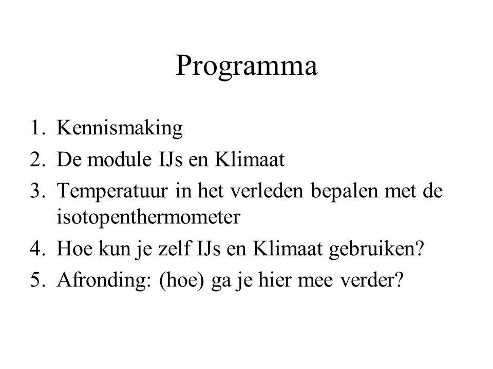 Programma 1.Kennismaking 2.De module IJs en Klimaat 3.Temperatuur in het verleden bepalen met de isotopenthermometer 4.Hoe kun je zelf IJs en Klimaat