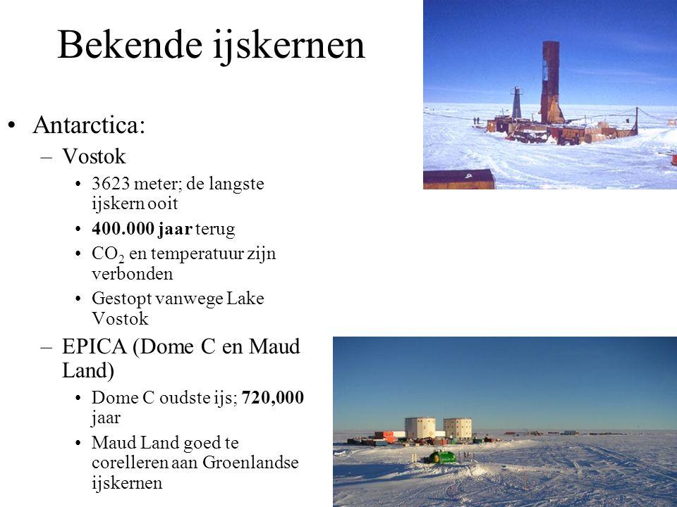 Bekende ijskernen Antarctica: –Vostok 3623 meter; de langste ijskern ooit 400.000 jaar terug CO 2 en temperatuur zijn verbonden Gestopt vanwege Lake Vostok –EPICA (Dome C en Maud Land) Dome C oudste ijs; 720,000 jaar Maud Land goed te corelleren aan Groenlandse ijskernen