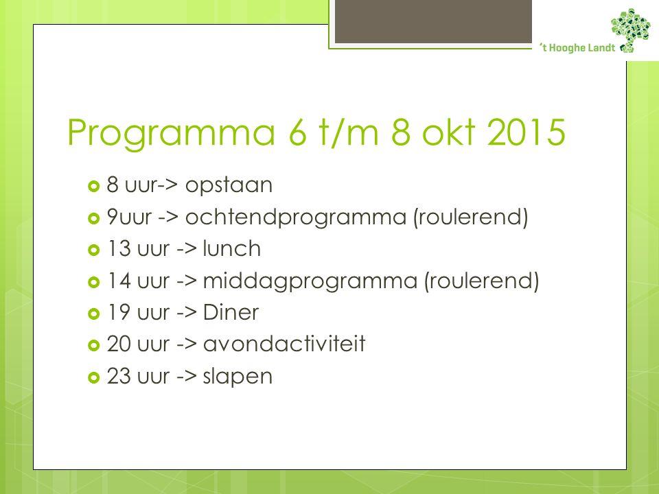 Programma 6 t/m 8 okt 2015  8 uur-> opstaan  9uur -> ochtendprogramma (roulerend)  13 uur -> lunch  14 uur -> middagprogramma (roulerend)  19 uur -> Diner  20 uur -> avondactiviteit  23 uur -> slapen