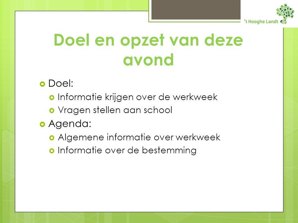 Doel en opzet van deze avond  Doel:  Informatie krijgen over de werkweek  Vragen stellen aan school  Agenda:  Algemene informatie over werkweek  Informatie over de bestemming
