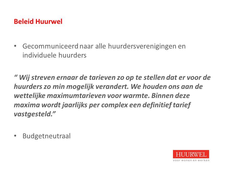 Beleid Huurwel Gecommuniceerd naar alle huurdersverenigingen en individuele huurders Wij streven ernaar de tarieven zo op te stellen dat er voor de huurders zo min mogelijk verandert.