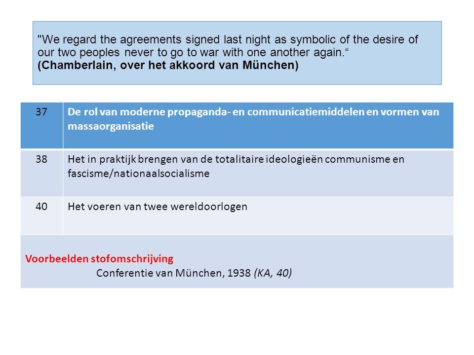 We regard the agreements signed last night as symbolic of the desire of our two peoples never to go to war with one another again. (Chamberlain, over het akkoord van München) 37De rol van moderne propaganda- en communicatiemiddelen en vormen van massaorganisatie 38Het in praktijk brengen van de totalitaire ideologieën communisme en fascisme/nationaalsocialisme 40Het voeren van twee wereldoorlogen Voorbeelden stofomschrijving Conferentie van München, 1938 (KA, 40)