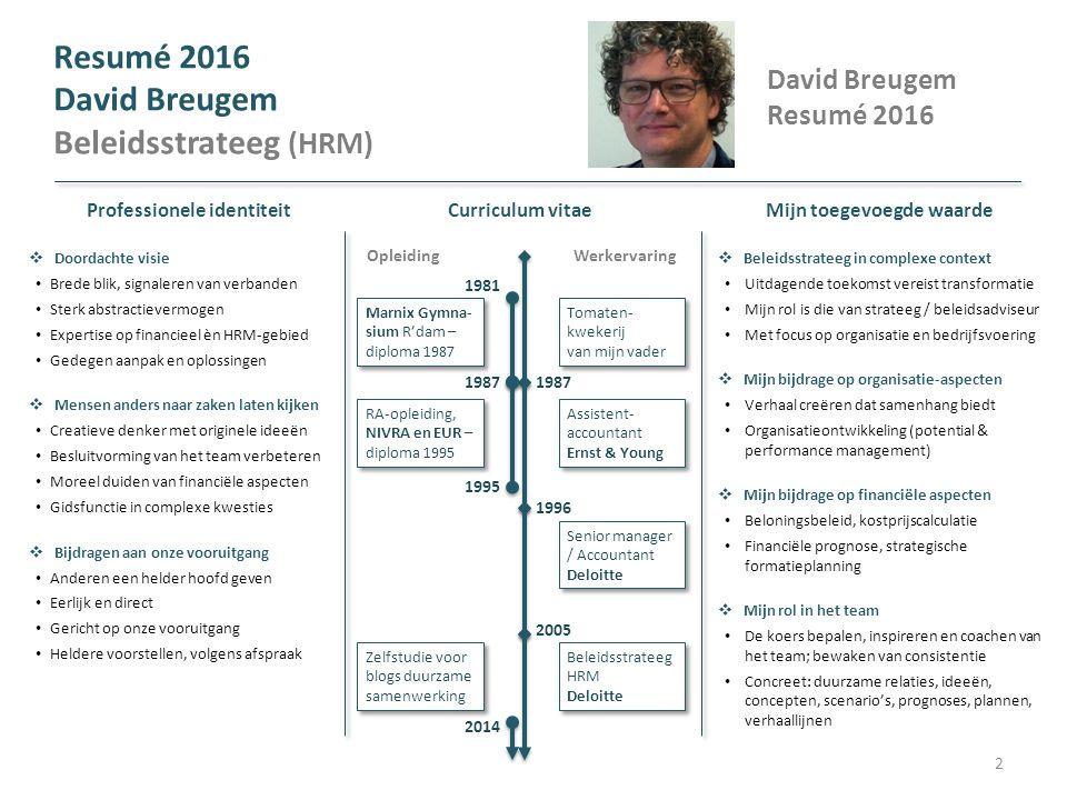 Resumé 2016 David Breugem Beleidsstrateeg (HRM) Mijn toegevoegde waarde  Beleidsstrateeg in complexe context Uitdagende toekomst vereist transformati