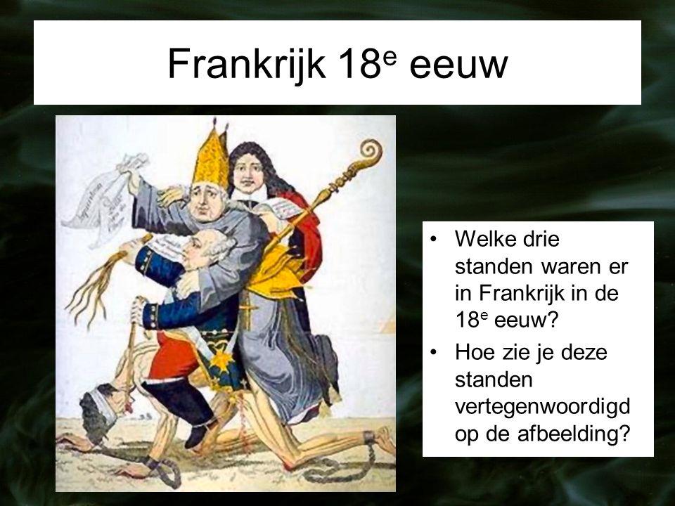 Frankrijk 18 e eeuw Welke drie standen waren er in Frankrijk in de 18 e eeuw.