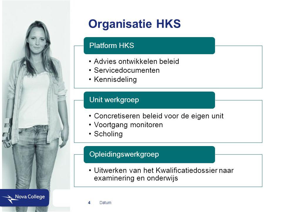 Datum Organisatie HKS 4 Advies ontwikkelen beleid Servicedocumenten Kennisdeling Platform HKS Concretiseren beleid voor de eigen unit Voortgang monitoren Scholing Unit werkgroep Uitwerken van het Kwalificatiedossier naar examinering en onderwijs Opleidingswerkgroep