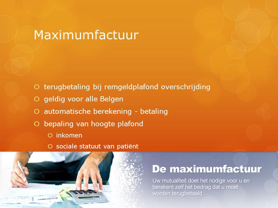 Maximumfactuur  terugbetaling bij remgeldplafond overschrijding  geldig voor alle Belgen  automatische berekening - betaling  bepaling van hoogte plafond  inkomen  sociale statuut van patiënt