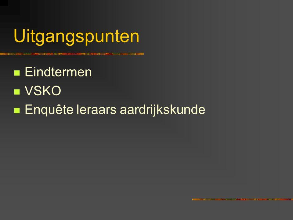 Uitgangspunt 1: eindtermen Eindtermen Ontwikkeld door DVO (Dienst voor Onderwijsontwikkeling) en VLOR (Vlaamse onderwijsraad) In samenspraak met de 3 netten, professoren, syndicale vertegenwoordigers Geen onderscheid ASO en KSO/TSO Resultaat: veel eindtermen TE VEEL Reden.