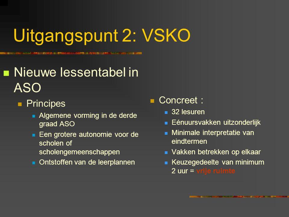 Uitgangspunt 2: VSKO Gevolgen voor aardrijkskunde Leerplan Minimale interpretatie van de eindtermen (= ontstoffing).