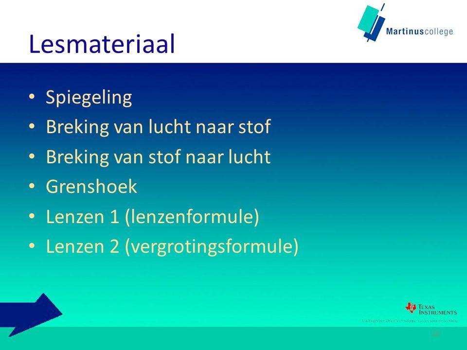 Lesmateriaal Spiegeling Breking van lucht naar stof Breking van stof naar lucht Grenshoek Lenzen 1 (lenzenformule) Lenzen 2 (vergrotingsformule) 10